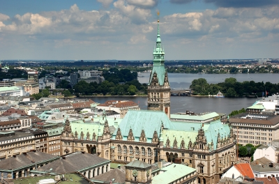 Town Hall Hamburg with Alster Lakes