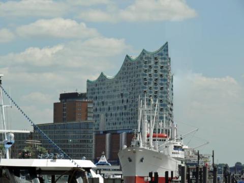 Hamburg Elbphilharmonic Hall and Hamburg Harbor
