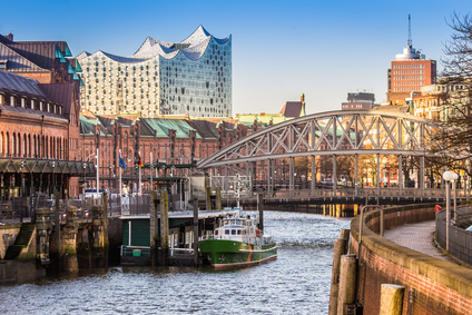 warehouse district and elbphilharmonic hall in hamburg