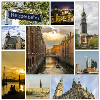 Clockwise: Red Light District/Reeperbahn, Landungsbruecken/harbor, St. Michael's Church, Elbphilharmonic Hall, Town Hall, Alster Lake, Harbor at dawn, Central Station